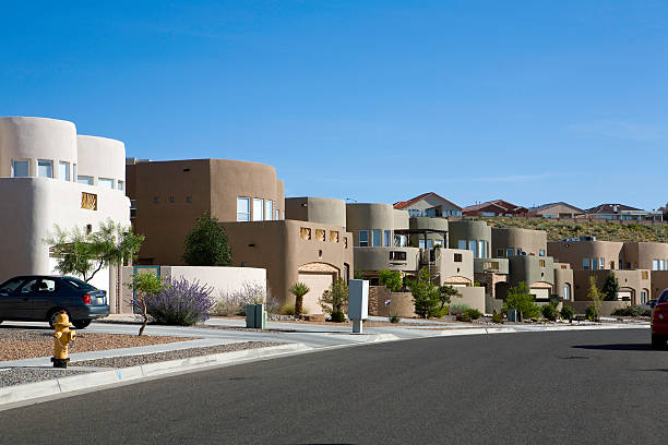 Modern Adobe homes in a neighborhood stock photo