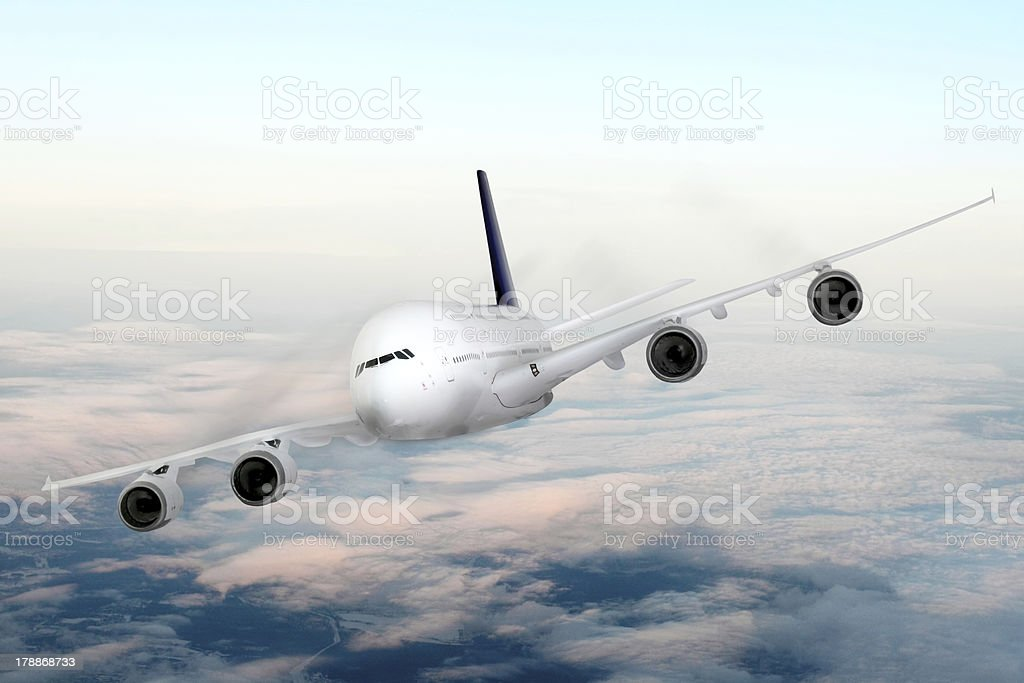 Modern airplane  in the sky near Airport. royalty-free stock photo