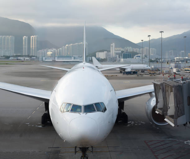 modern airport and aircraft - stranded stock pictures, royalty-free photos & images
