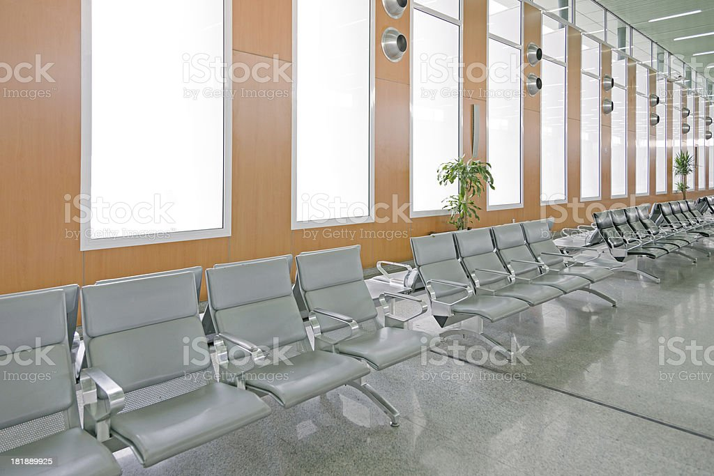 Modern Airport Gate Empty Seats royalty-free stock photo