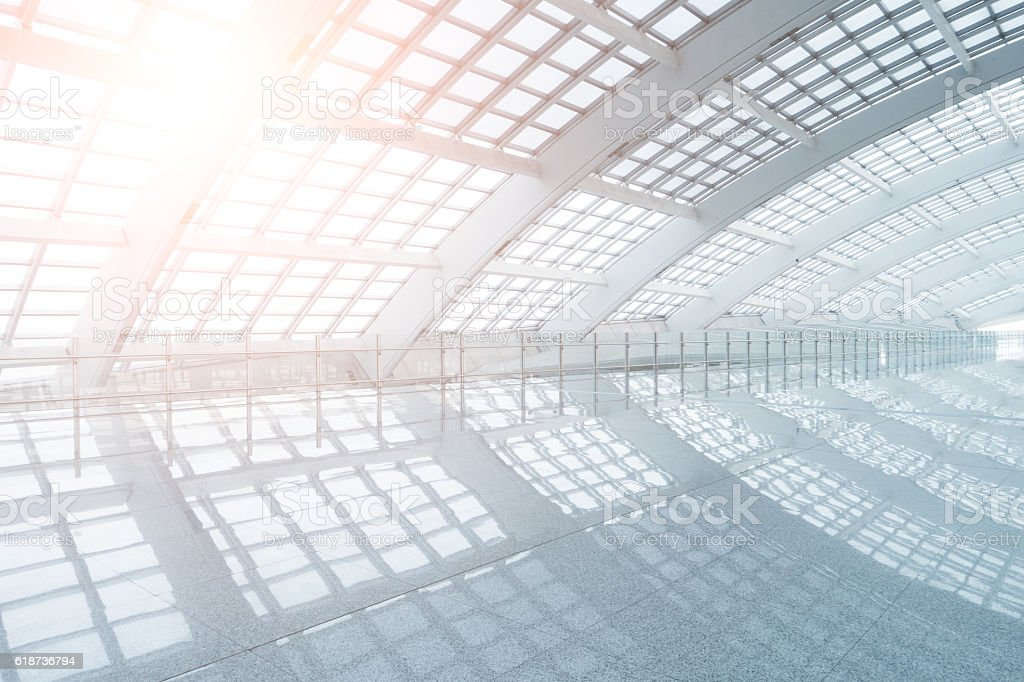 Modern airport interior stock photo