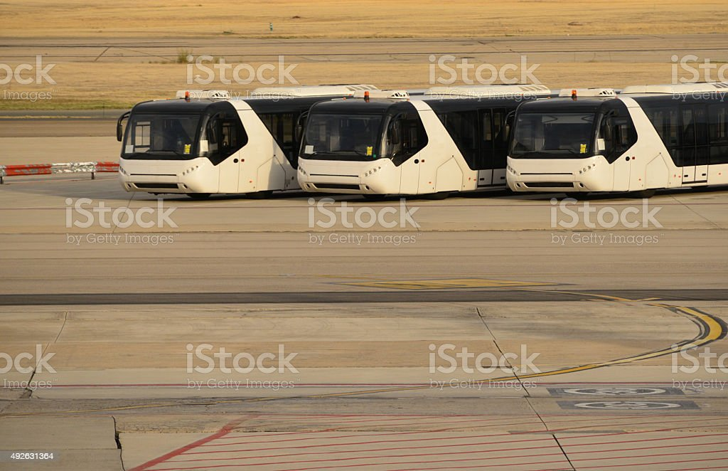 Modern airport shuttle bus stock photo