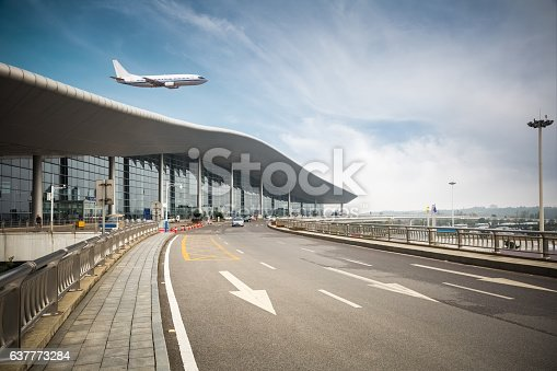modern airport outside , airplane with road background