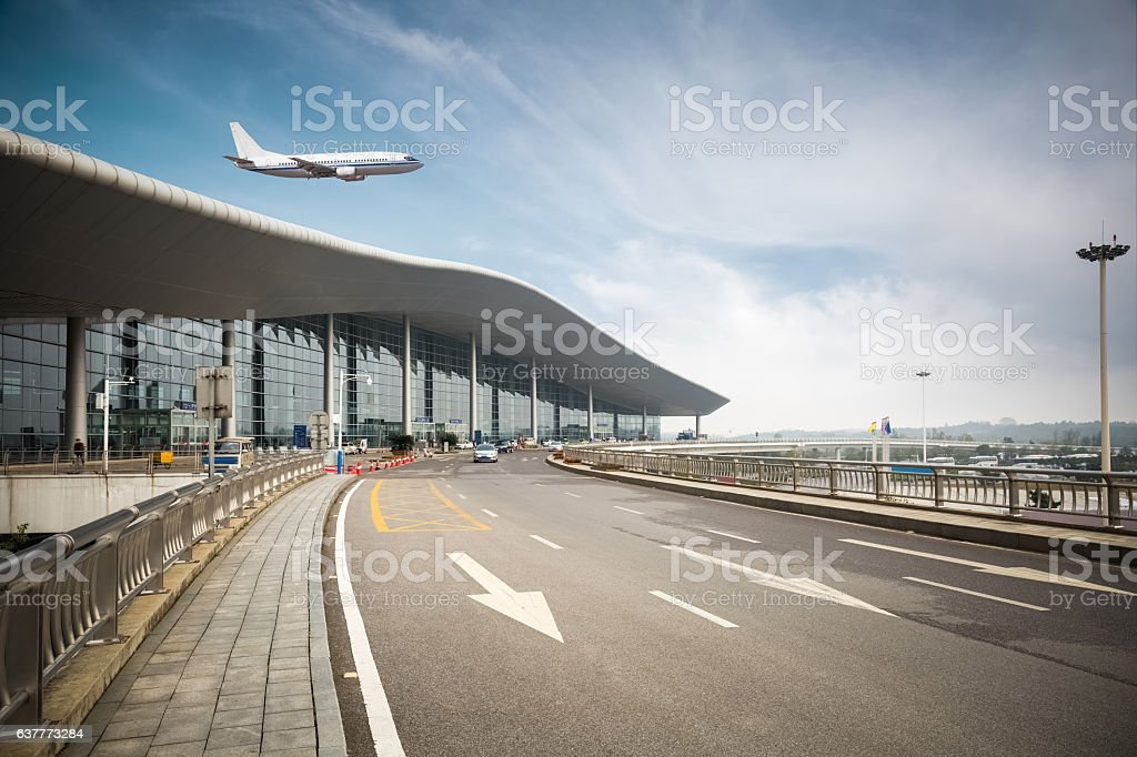 modern airport with road stock photo