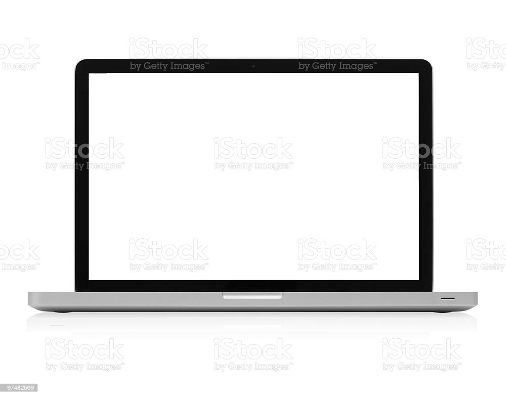 Modern Aluminum Laptop Computer White Screen w/ Clipping Path stock photo