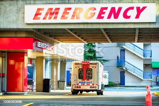 istock modern ambulance car parked near the emergency entrance to the hospital in the daytime 1006092696