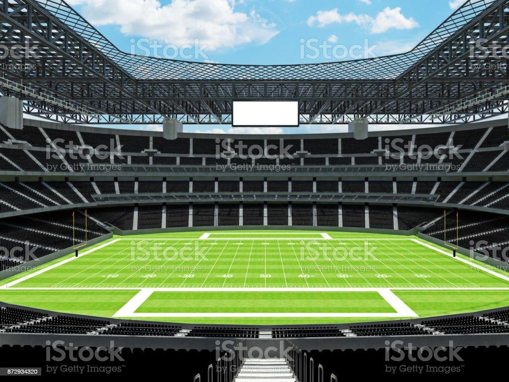 Modern American football Stadium with black seats stock photo