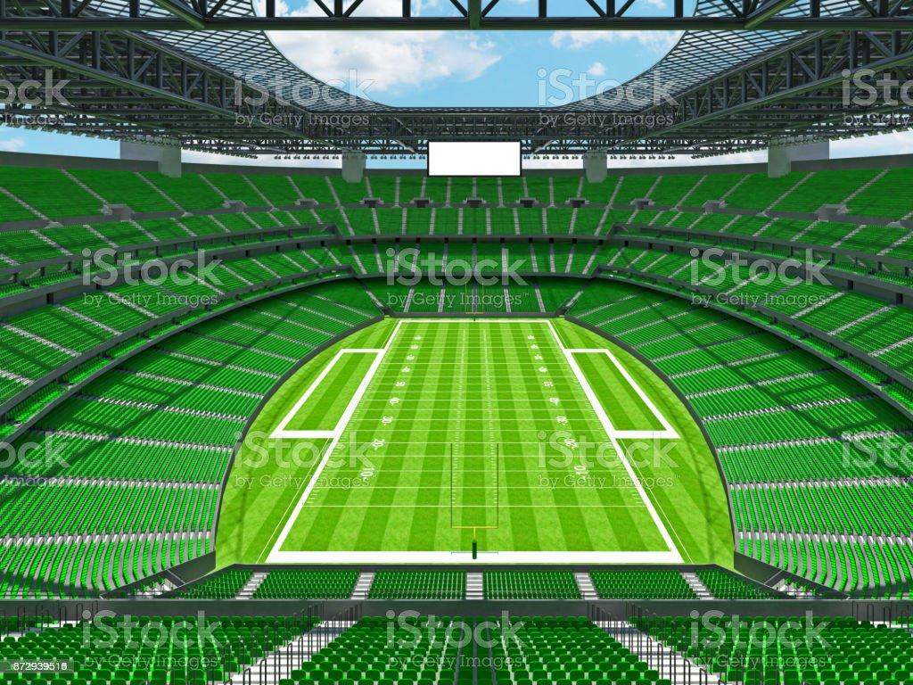 Modern American football Stadium with green seats stock photo