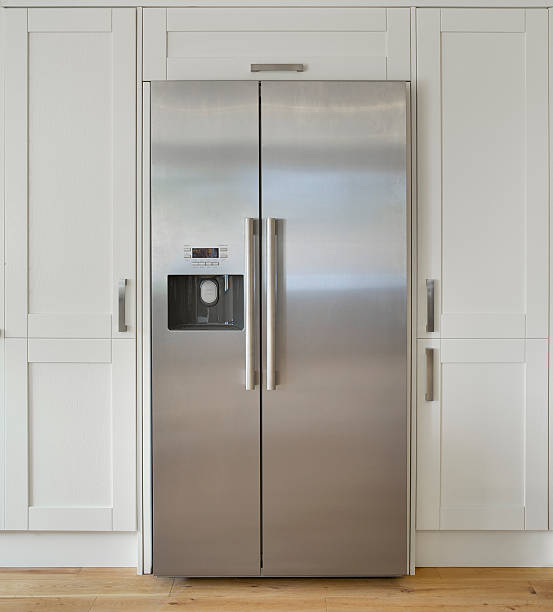 modern american fridge freezer - stainless steel stock pictures, royalty-free photos & images