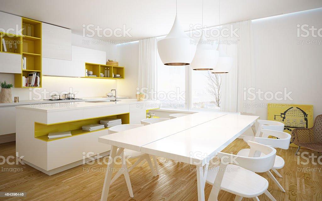 Modern and bright kitchen interior stock photo