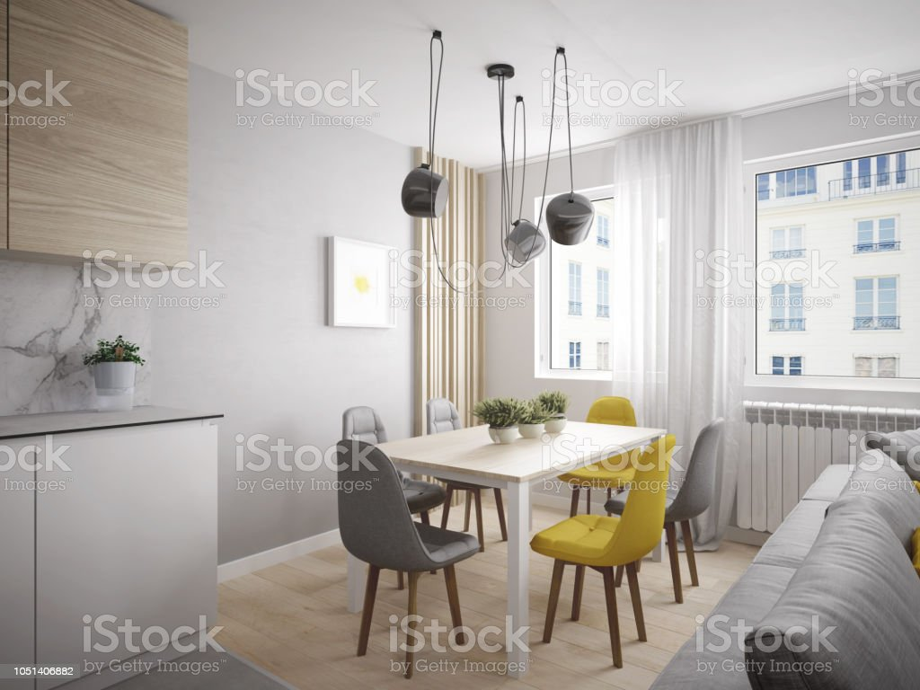 Modern and cheerful dining room in beautiful apartment stock photo