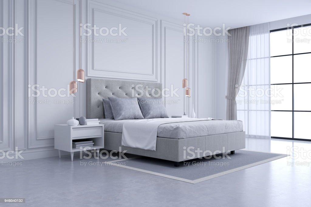 Moderne en klassieke slaapkamer interieur white en gray kamer