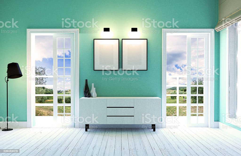 Pareti Salotto Verde : Moderno salotto interno con verde pareti fotografie stock e