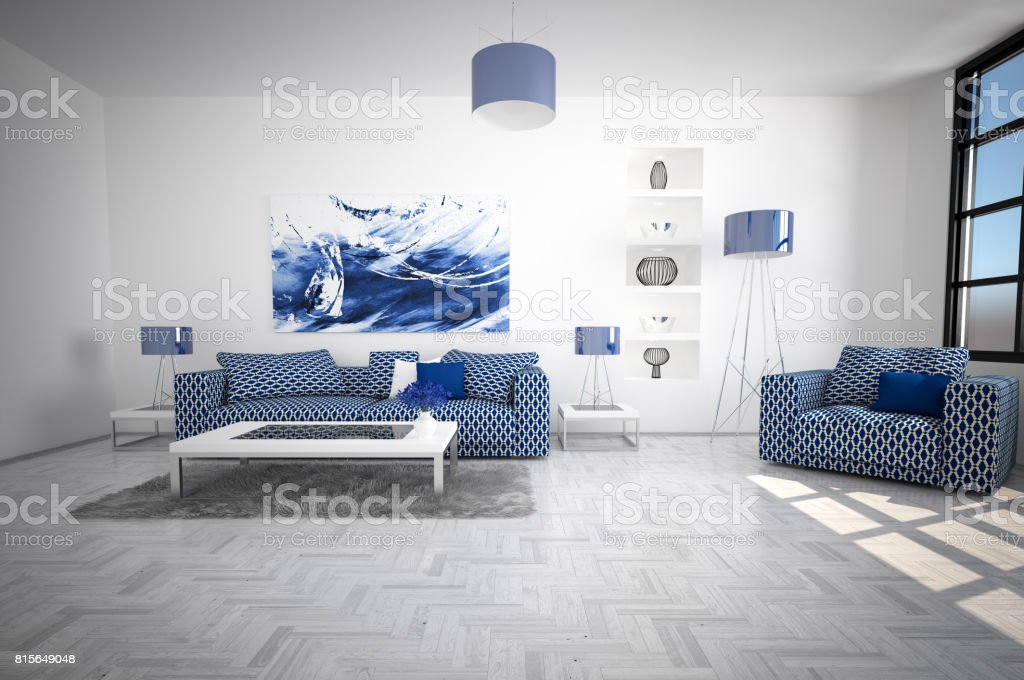 Modern and Cozy Living Room Interior stock photo