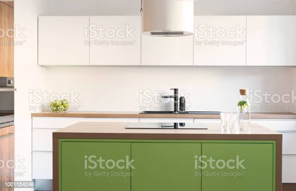 Modern And Design Scandinavian Space With Kitchen Island Table And Accessories Sunny And Bright Kitchen With White White Wall Stylish Accessories Stock Photo Download Image Now Istock