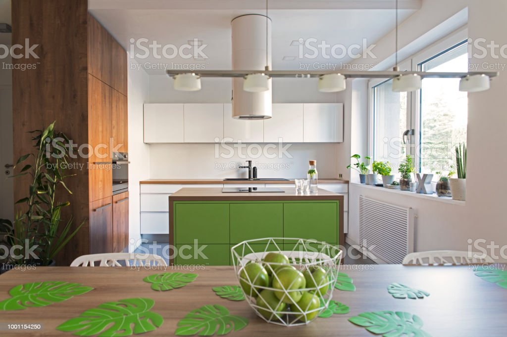 Modern And Design Scandinavian Space With Kitchen Island ...