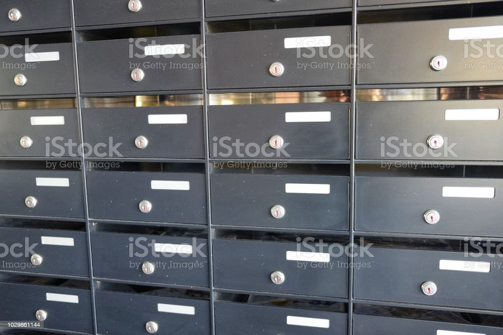 Modern And Empty Mailboxes Stock Photo - Download Image Now