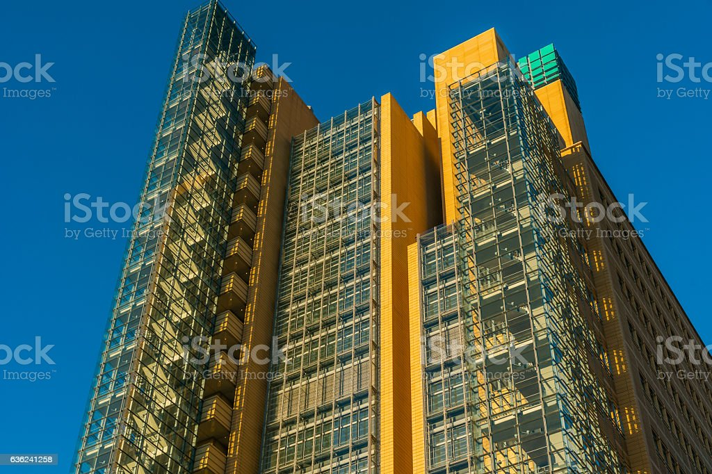 modern and high contrasted skyscraper at potsdamer platz stock photo