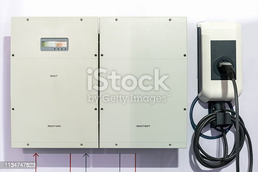 istock Modern and high technology of transportation electric vehicle charging (Ev) station with plug of power cable supply for Ev car or hybrid 1134747823