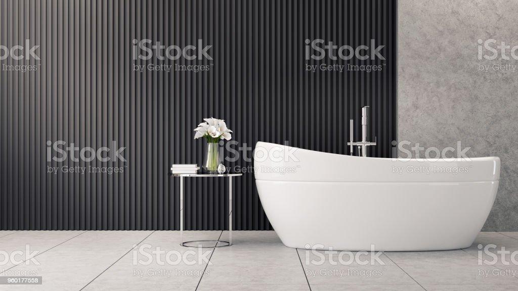 Modern Und Loft Bad Innenarchitektur Ist Weiße Wanne In Der Nähe Von