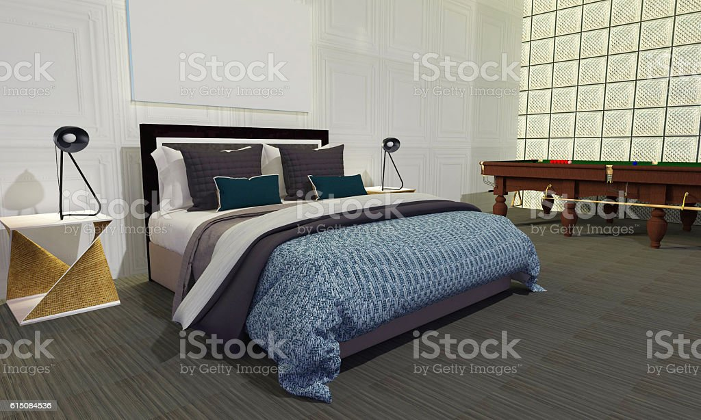 Modern and loft bedroom interior-3D render stock photo