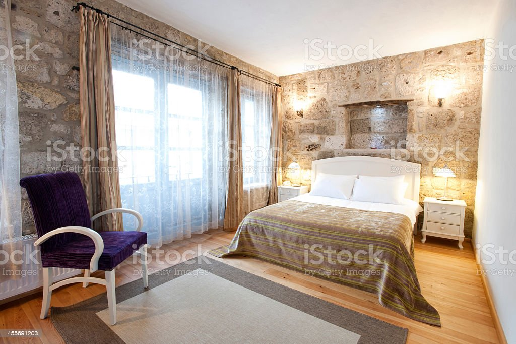 A modern and luxurious bedroom stock photo