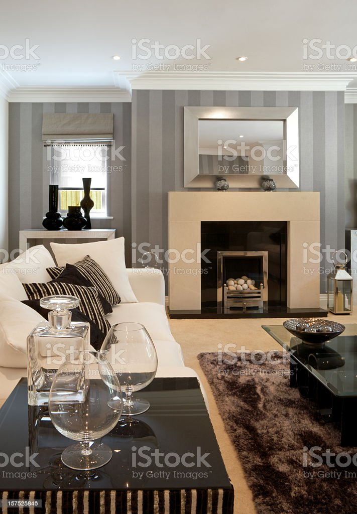 A modern and luxury living room stock photo