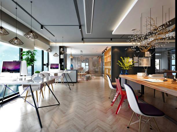 モダンで豪華なオフィスインテリア、広い作業スペース - オフィス ストックフォトと画像