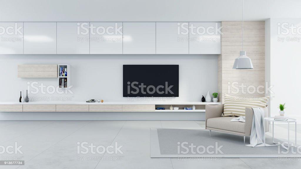 Modern Und Minimalistischer Innere Wohnzimmer Gemütlich ...