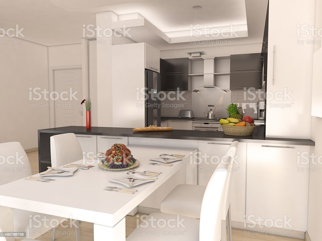 Foto De Cozinha Americana Moderna E Minimalista Com Mesa De Jantar E