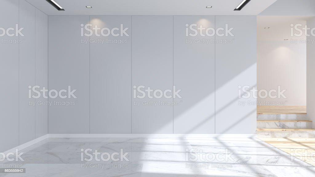 Modern en minimalistisch interieur marmeren vloeren en blauwe muur