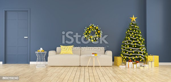 istock Modern and minimalist interior of living room ,christmas tree with gift boxes decorate of  home for the holidays,3d rendering 869259240