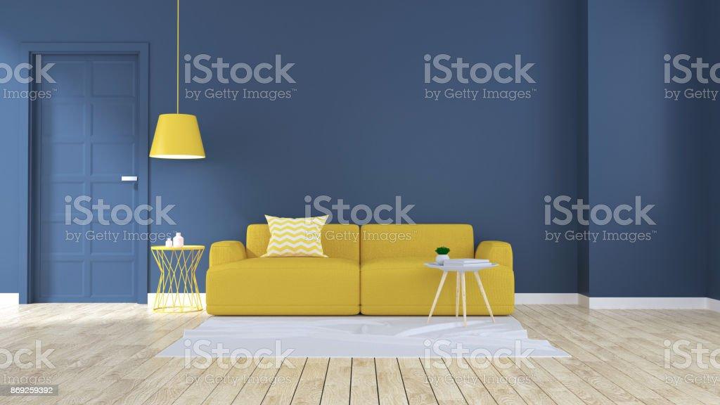 Modernen Und Minimalistischen Interieur Wohnzimmer Gelben ...