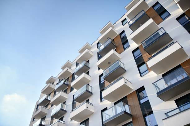 Modern and new apartment building. stock photo