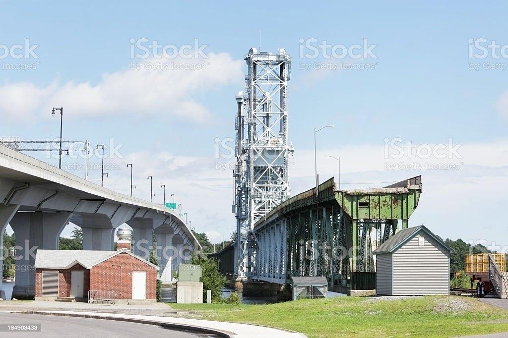 Modern and Obsolete Highway Bridges stock photo