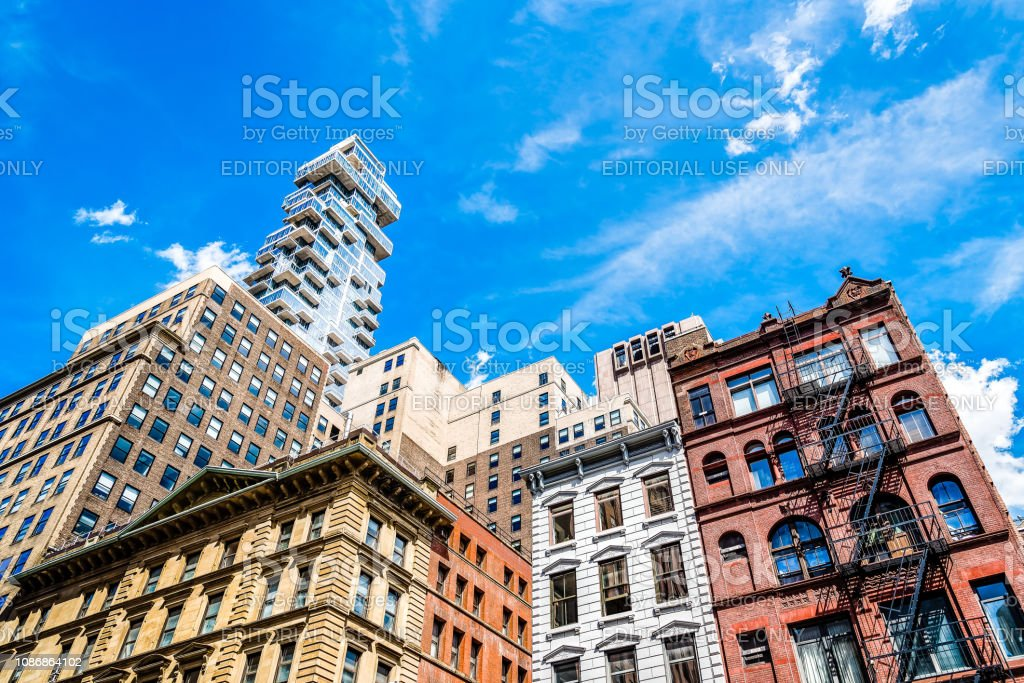 Modern and old residential buildings in Tribeca stock photo