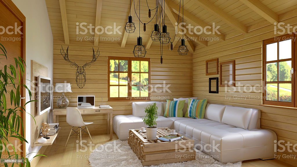 Modern and retro cabin interior stock photo