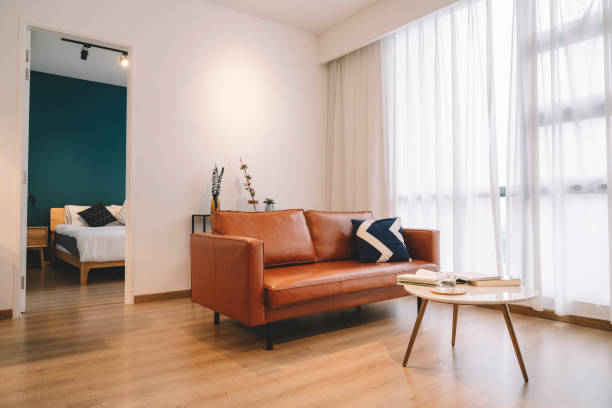 A modern and simple living room with sofa and table stock photo