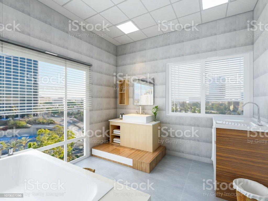 Modernes Und Geräumiges Badezimmer Design Mit Einer ...