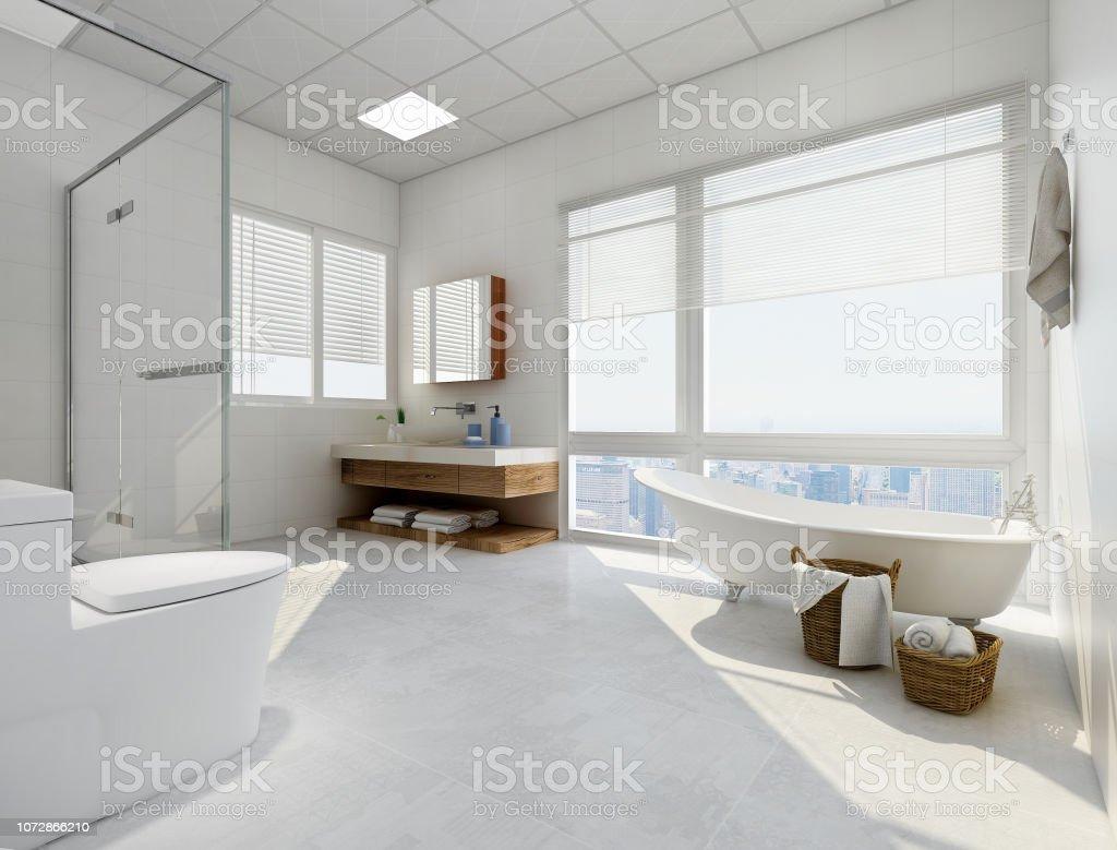 Modernes Und Geräumiges Badezimmer Mit Badewanne Waschbecken ...