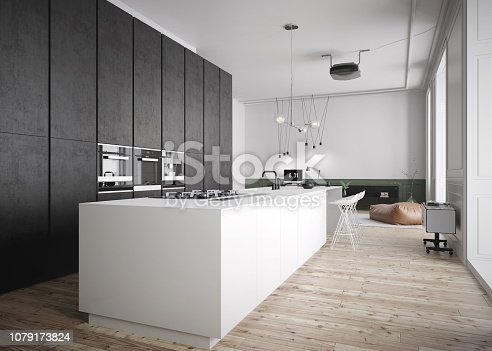 istock Modern and spacious kitchen in luxury interior 1079173824