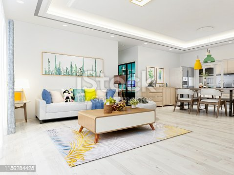 Modern and spacious living room design with furniture such as sofa and coffee table