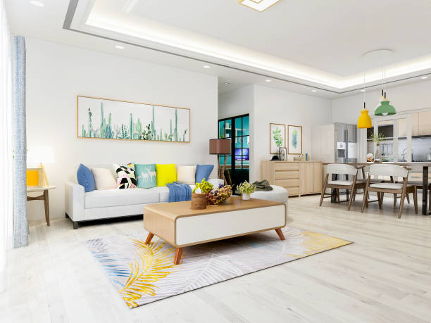 modern and spacious living room design with furniture such as sofa and coffee table - украшать стоковые фото и изображения