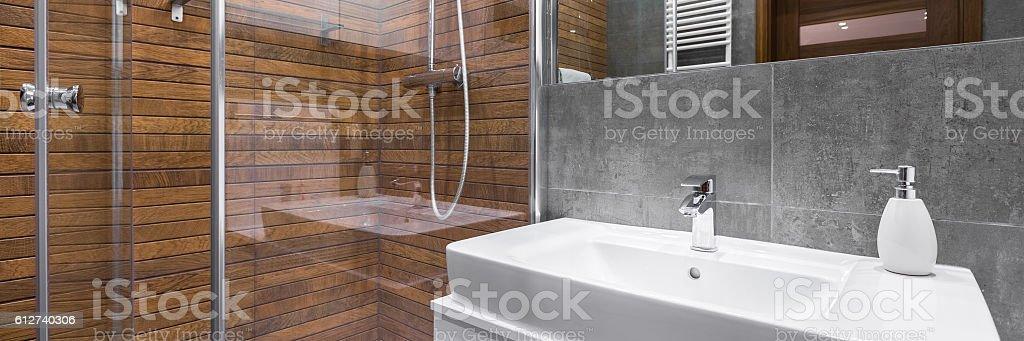 Modern and stylish bathroom stock photo