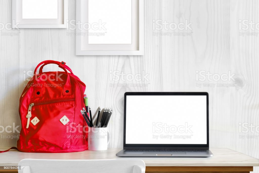 Modern And Stylish Workspace With Laptop Computer, Office Supplies, Books,  Poster At Home Or Studio. Mock Up Desk Concept.   Stock Image .