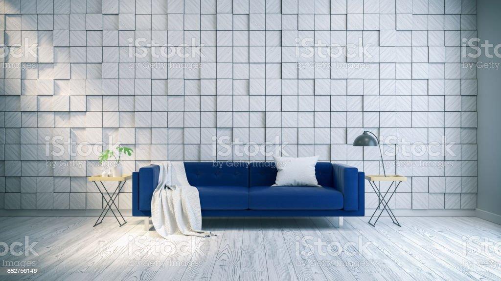 Favorit Moderne Und Vintage Inneneinrichtung Des Wohnzimmers Blauen Sofa ZX48