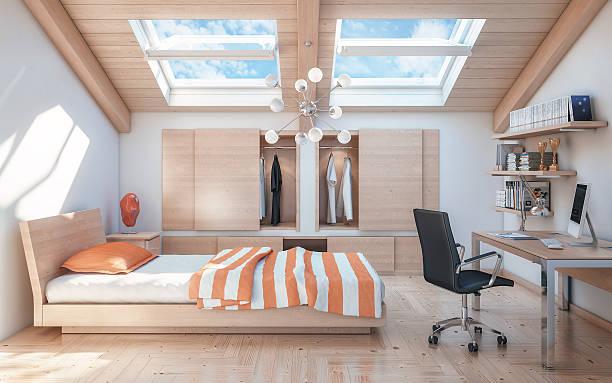 moderne und warme teenager dachgeschoss schlafzimmer - schlafzimmer teenager stock-fotos und bilder