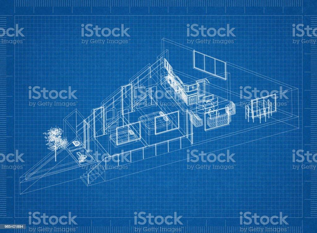 Modern Apartment Architect blueprint zbiór zdjęć royalty-free