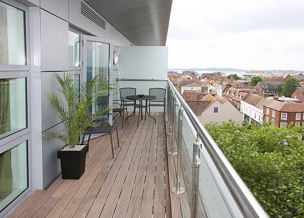 Modern Apartment Balcony Exterior stock photo