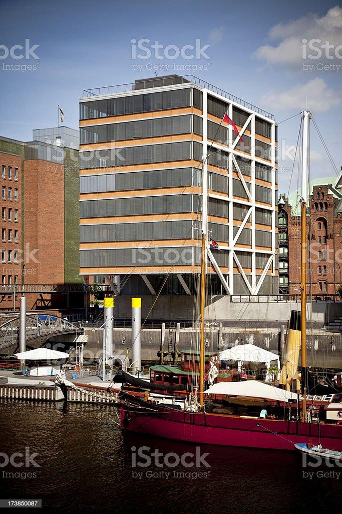 modern apartment block and historical ships, architecture hamburg germany royalty-free stock photo